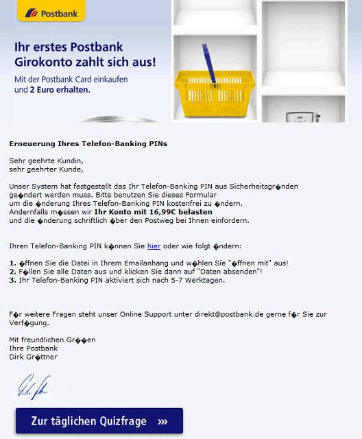 Telefon Pin Postbank