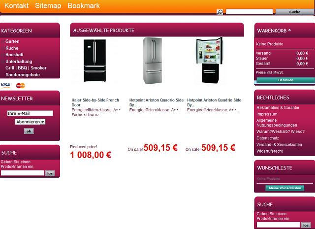 Die Website Des Vermeintlichen Online Shops Www.haus Garten Shop.biz  (Screenshot: 23.7.2014).