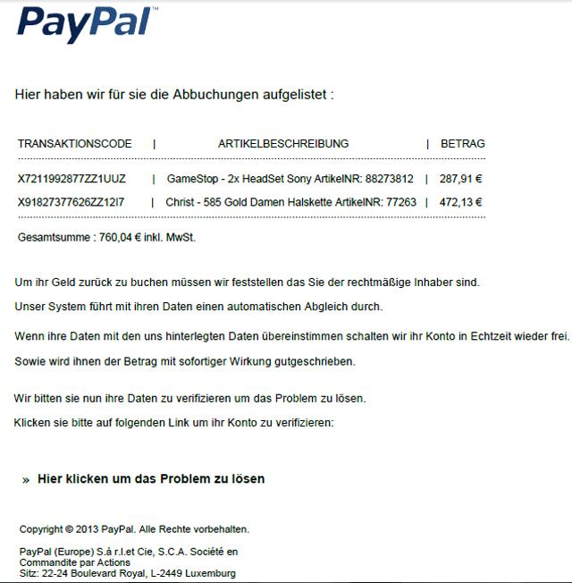 paypal bankdaten