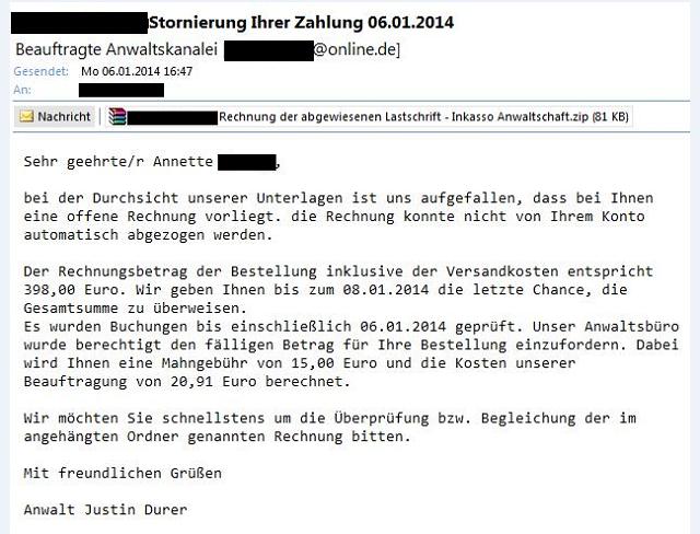 Watchlist Internet Auch 2014 Werden Gefälschte Rechnungen Verschickt