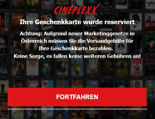 Lüge: keine weiteren Kosten Cineplexx