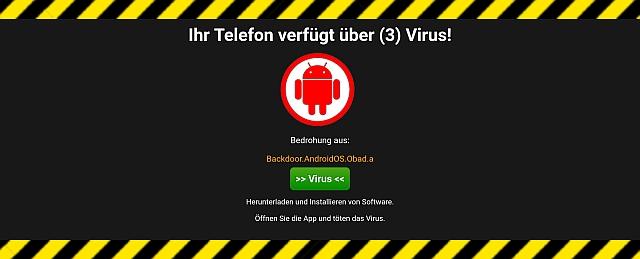 Viruswarnung Smartphone