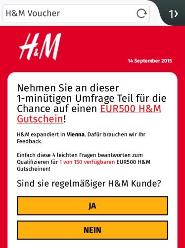 H&M Gutschein Umfrage