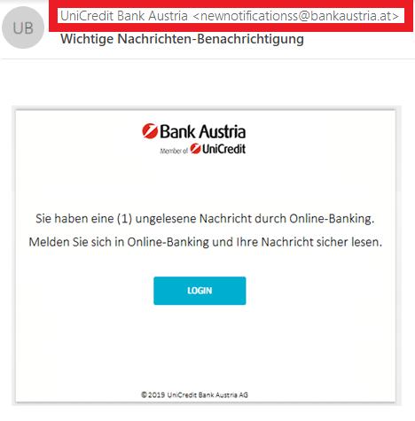 Phishing-Mail Bank Austria klassisches Beispiel