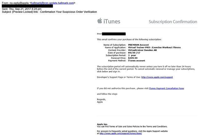 Watchlist Internet Gefälschte Apple Nachricht Subscription