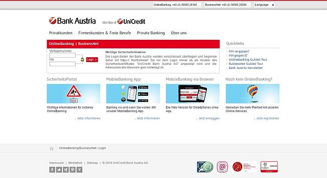 Watchlist Internet: Keine Bank Austria-Kundendaten aktualisieren