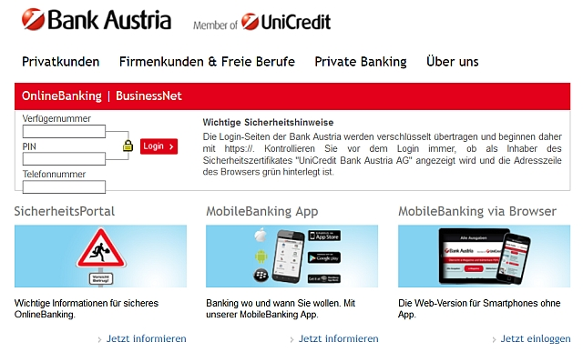 Watchlist Internet: Bank Austria überprüft keine Identität mit Probe-SMS