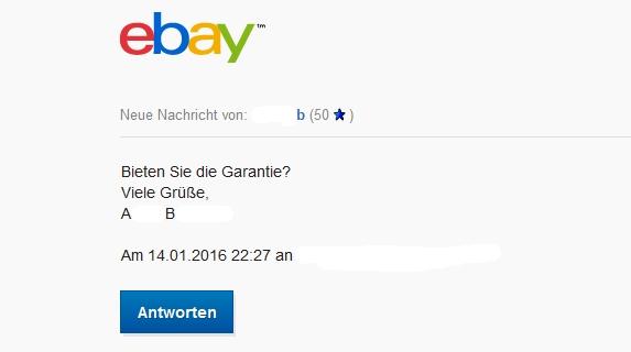 Watchlist Internet: Gefälschte eBay-Nachricht: Frage zu Artikel