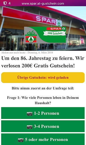 Ein 200 Euro Gutschein für Spar-Gewinnspiel.