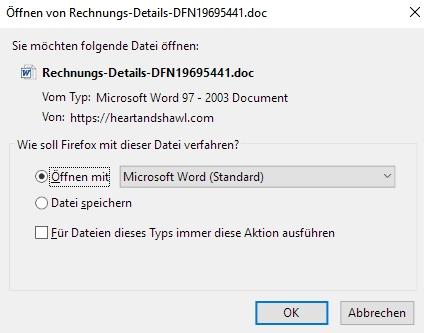 Der vermeintliche Scan verbreitet Schadsoftware. / Screenshot by Watchlist Internet