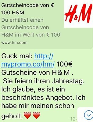 eine whatsapp nachricht bewirbt 100 gutscheine von hm - Hm Bewerben