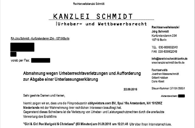 Watchlist Internet Fake Abmahnung Der Kanzlei Schmidt Im Umlauf