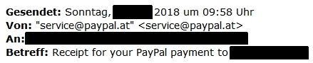 Bereits zwei Minuten nach der ersten PayPal-Nachricht erhalten Opfer eine Rechnung. / Screenshot by Watchlist Internet