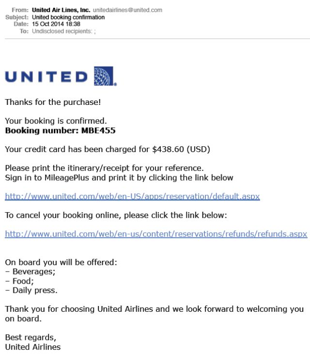 similiar receipt from united airlines keywords
